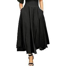 Vestidos mujer,Sannysis Vestido Largo de Moda Mujer Para Fiesta Faldas Largas Bohemias Falda Larga Casuales Con Estampada Faldas De Playa Cintura EláStica Falda Hippie Larga (S, Negro)