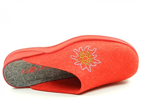 Rohde 2308 Vaasa-D Chaussons Femme Rouge