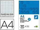 RECAMBIO LIDERPAPEL A4 100 HOJAS 100G/M2 CUADRO 4MM CON MARGEN 4 TALADROS
