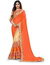 G Stuff Fashion Women Lycra saree With Blouse Piece_saree_Orange Lycra_saree