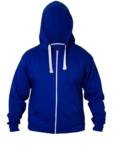 Kids Girls & Boys Unisex Plain Fleece Hoodie Zip Up Style Zipper Age 5-13 Years (13-14 YEARS, Royal Blue)