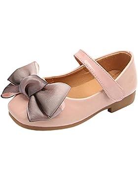 Qitun Niñas Princesa Bowknot Plana del Fiesta Bautizo Antideslizante Zapatos Escolares Mary Jane