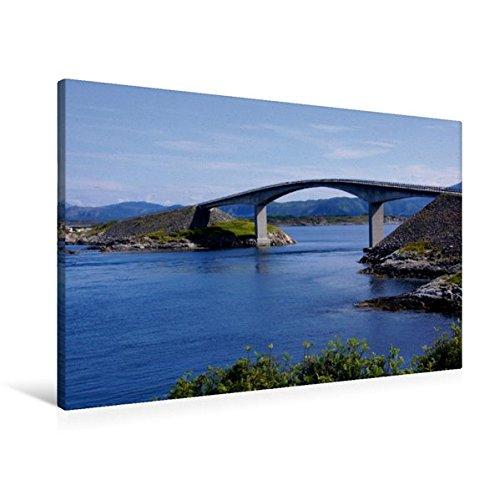Preisvergleich Produktbild Premium Textil-Leinwand 90 cm x 60 cm quer, EIne der 8 Brücken auf der Atlantikstraße | Wandbild, Bild auf Keilrahmen, Fertigbild auf echter Leinwand, Leinwanddruck (CALVENDO Natur)