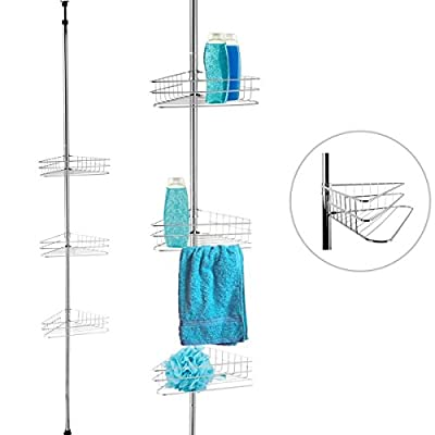 FunkyBuys® Telescopic Corner Shower Bathroom Shelf Organiser Caddy - low-cost UK light store.