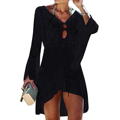 Strandkleid Damen Sexy Bikini Cover Up Strandponcho Sommerkleid Sommer Bademode Strand Pareo für Damen (Schwarz) ()