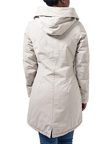 Urban Classics Ladies Garment Washed Long Parka, Blouson Femme Ecru - Elfenbein (sand 208)