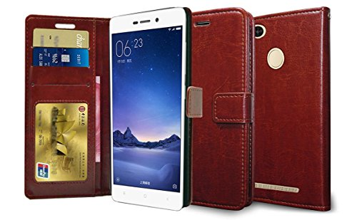 Febelo Premium Quality PU Leather Magnetic Lock Wallet flip cover Case for Xiaomi Redmi 3S Prime - Brown Color