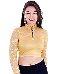 0f4bbeda98c Life win Lycra shimmer Cotton golden Round Neck Readymade Stretchable Blouse  in zip For Women in