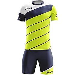 Zeus Kit Lybra Equipaciòn para el Fùtbol y el Voleibol Para Hombre Sport Pegashop Colour Amarillo Fluorescente-Azul-Blanco (S)
