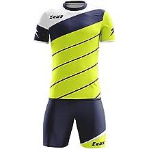 0b40a9f565 Kit Zeus Lybra Uomo Giallo Fluo-Blu-Bianco Completino Completo Calcio  Calcetto Torneo Scuola