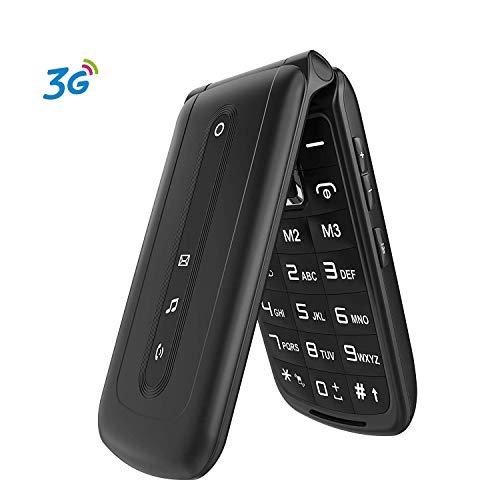 3G Seniorenhandy Klapphandy mit großen Tasten Ohne Vertrag, 2.4 Zoll Display Mobiltelefon Mit SOS Notruf-Knopf (Dual-SIM) Schwarz