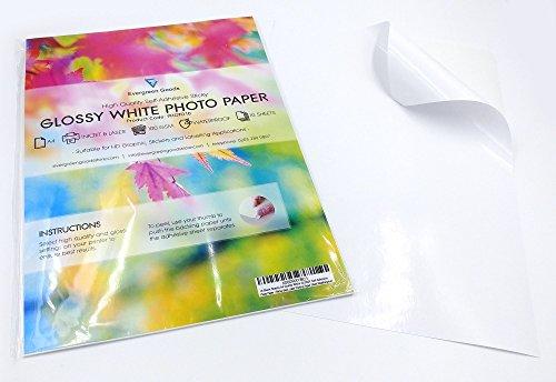 Evergreen Goods Ltd 100 Hojas A4 Blanco Brillante autoadhesiva/Etiqueta Trasera pegajosa Etiqueta de la Imagen resolución de impresión Hoja de Papel