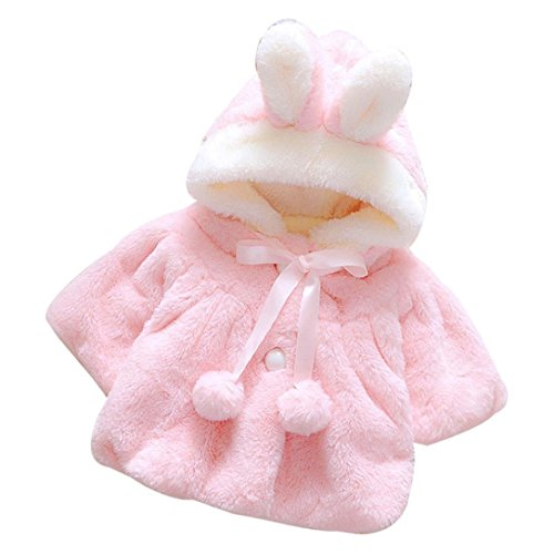 Baby Mäntel,bobo4818 Baby Girl Winter Jacke Hooded Coat Mit Kaninchen-Ohren Und DREI Viertel Ärmel (Age:0-6M, Rosa) -