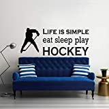 Sports Eat Sleep Play Hockey Cotizaciones Tatuajes de pared Kids Room Living Room Art Vinyl Wall Art Sticker Decpr Mural 21X57CM