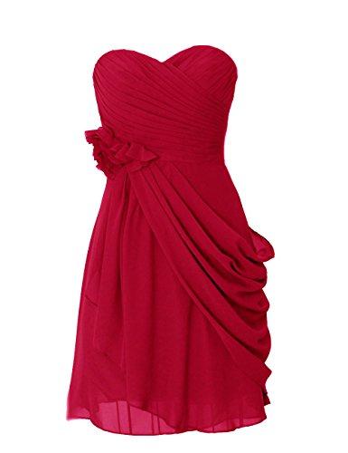 Dresstells, robe courte de demoiselle d'honneur mousseline avec fleurs Rouge Foncé