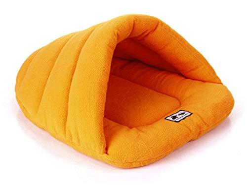 ZJEXJJ Soft Pet Cat Caves & Houses Welpenschlafsack-Bett-Fleece-Haustier-Höhlen-Nest-Bett-Kissen super warme und gemütliche Haustiere Haus-Rest-Beutel-Matte für Hunde (Farbe : Orange, größe : M) -