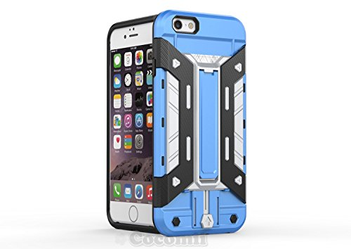 iPhone 6S / iPhone 6 Coque, Cocomii Cyborg Armor NEW [Heavy Duty] Premium Built-in Multi Card Holder Kickstand Shockproof Hard Bumper Shell [Military Defender] Full Body Dual Layer Rugged Cover Case É Blue/Silver