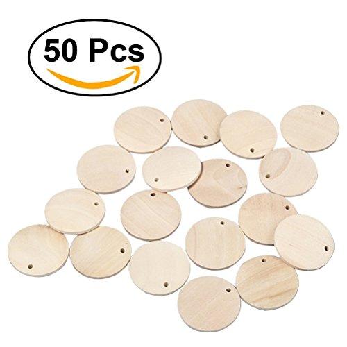 ultnice redonda de madera piezas de madera registro de círculos con agujero madera rebanadas discos para bricolaje Art Craft 4cm 50pcs