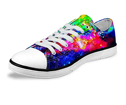 Galaxy Space Men Women Canvas Shoes Outdoor Casual Sneakers Training Shoes Flats Bright Color-C0166AP 5 5 Zoll Spike Heel