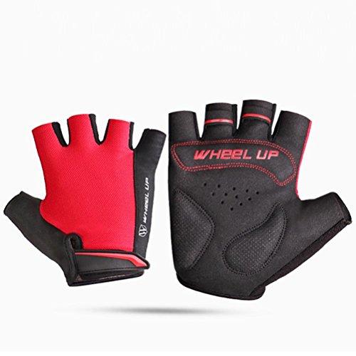 Gusspower Half Finger Handschuhe, Anti-Rutsch Pad Soft Lycra Atmungsaktive Fahrrad Road Mountain Radfahren Shock-Absorbierende Sport & Arbeitshandschuh für Herren und Damen (Rot, XL)