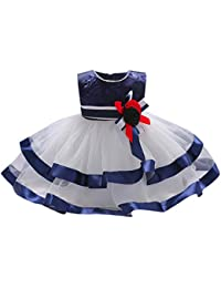 8a909aa80 DRESS start Vestido Para Bebé NiñAs Vestido Bordado A Rayas Boda Sin Mangas  Vestido De Tul Del Tutú Fiesta Infantil Elegante Bautizo…