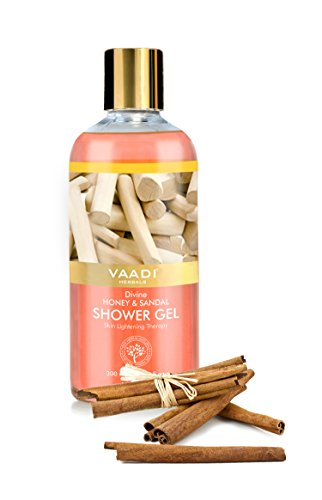 Gel Herbal Body Wash (Shower Gel - Sulfate-Free - Herbal Body Wash both for Men and Women - 300 ml - Vaadi Herbals (Divine Honey & Sandal) (1 Bottle))
