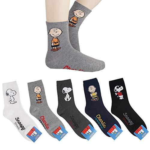 Die Peanuts Comics Charakter Mannschafts Socken mit Beutel Packung mit 5 Paaren - Charlie Brown, Snoopy