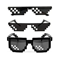 [3 عبوات) Thug Life Sunglasses Men Women Glass 8 Bit Mosaic Glasses Photo Props Unisex Sunglasses - Black, (اسود), Square