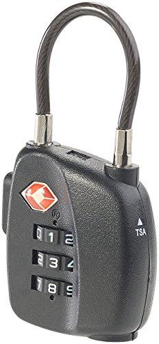 Mit Zahlenschloss Zahlen Großen (PEARL TSA-Vorhängeschloss: TSA-Koffer-Zahlenschloss mit flexiblem Stahlkabel & 3-stelligem Code (TSA-zertifiziertes Schloss))