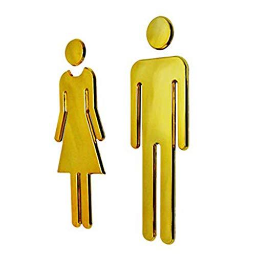 NAYUKY 2ST / Set Hotel Shopping Mall Adhesive Men Women WC-Tür-Zeichen Badezimmer Toilette WC Tür-Zeichen-Aufkleber Türschild