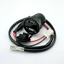 Universal Coche Vehículo Motocicleta 3,1A doble USB Móvil Teléfono Cargador Azul Digital Voltímetro Batería Monitor