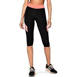 AURIQUE Leggings de Deporte Mujer, Negro (Black/Geranium), Medium