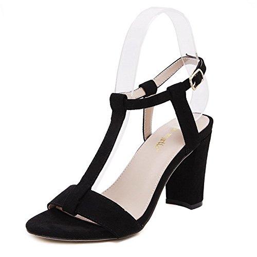 VogueZone009 Donna Fibbia Punta Aperta Tacco Alto Pelle Di Mucca Puro  Sandali Nero