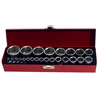 Socket Set with Imperial Sizes 1/4 + 1/2 Inch Drive 24 Pieces