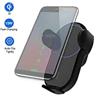 Peedeu Fast Wreless Car Charger Mount,Automatic Clamping Phone Holder Mount 15W With Smart Clamping Sensor For IPhone XS/XS Max/XR/X/8/8, Galaxy S10/S10 /Note 9/S9/S9 /S8/S8