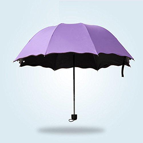 AchidistviQ Paraguas de Regalo de Moda para Mujer, sombrilla Anti Rayos UV, Flor, 3 Pliegues, Resistente al Viento, Sol/Lluvia, Paraguas de Regalo Morado Claro