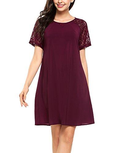 Parabler Damen Chiffonkleid Partykleid Sommerkleid Abendkleid Elegant Lotus Leaf Knielang Festliches Kleid
