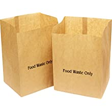 Alina 25 x 10L Compostable Paper Caddy Bin Bag/Food Waste Bin Liner/Biodegradable Brown 10 Litre Paper Sack Composting Guide (25 bags)
