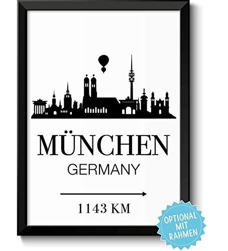 München Bayern Skyline mit individueller Entfernungsangabe personalisiertes Bild optional mit Holz-Rahmen Geschenk Geschenkidee