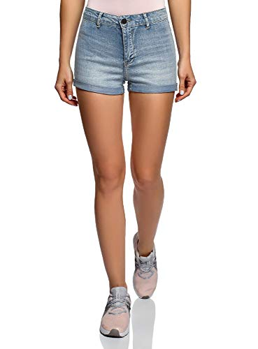Oodji ultra donna shorts basic in jeans con vita alta, blu, w27 / it 42 / eu 38