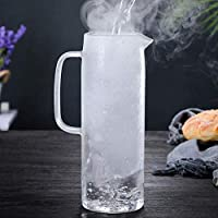 FGHSDVaso de Agua de Vidrio Botella de Agua fría Mango Hervidor de Agua Transparente Resistente al Calor Jugo Tetera Jarra Jarra de Agua Hervidor 1.2L 1.5LF
