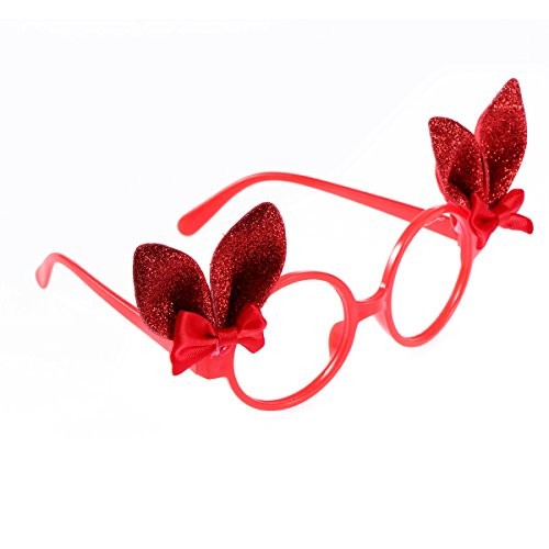 Amosfun Bunny Brillengestell Glitter Bunny Ears Lustige Sonnenbrille Kinder Ostern Kostüm Zubehör Party Favor Requisiten Rot (Oster Bunny Kostüm Für Kinder)