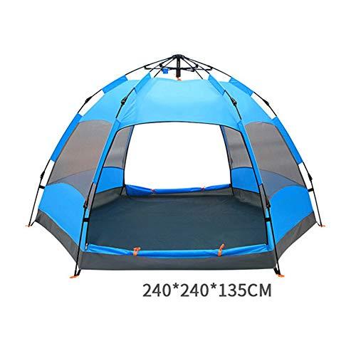 Blue la Randonn/ée TJ-DZSW Tente D/ôme 3-4 Personnes Outdoor de Camping Familiale avec,Pop-Up Automatique pour Une Installation Rapide et Facile,Imperm/éable Convient pour Les Plages Les Festivals