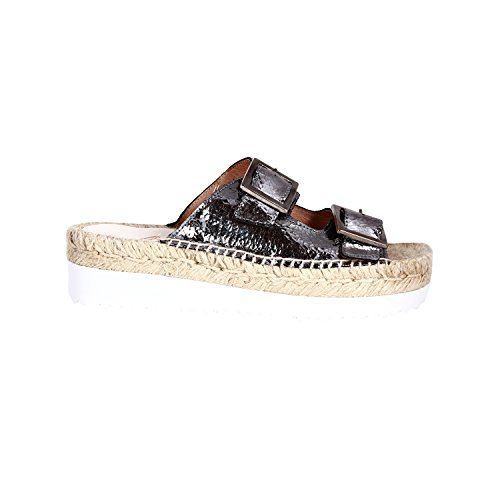 Gaimo Espadrilles Women's Zanpy Metallic Grey Sandals In Size 36 Grey