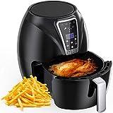 Muzili luftfritös, digital mini luftfriterare 6-i-1 oljefri hälsosam friterare familjekapacitet ugn/spis för låg fett matlagningstimer och helt justerbar temperaturkontroll, LED-skärm