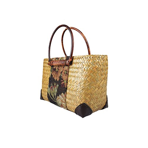 LYY.YY Rattan Blume Stoff Tasche Strandtasche Reisetasche Lässige Handtasche Bambus Griff Handgefertigt Für Frau (11,85 * 6,72 * 3,95 Zoll) (Strukturierte Bambus)
