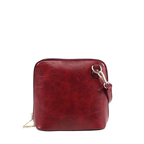Haute For Diva S Nuova Borsa Monospalla Monocolore Donna In Ecopelle Nera - Verde Scuro, Rosso Piccolo