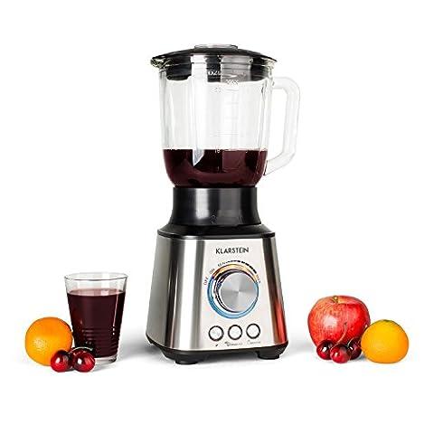Klarstein TK30 Herakles mixeur blender (pour smoothies, milk shakes, jus de fruits, récipient en verre 1,5 L, 8 lames acier, fonction pulse 1 000 W) - argent