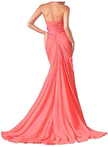 Sunvary sexy 2016High Slit Halter Flower increspato Prom abito da sera Watermelon