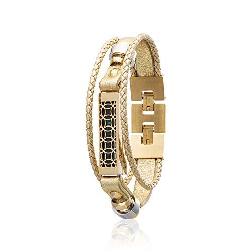 fitjewels Flex 2 Schmuck - Armbänder Hyde - Edelstahl und echtes Leder - Flex 2 Ersatzband 6.5-9 Zoll Gold-Gold (Zoll Gold-armband 7)